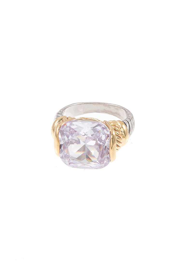 Crystal Gem Cable Wire Accent Ring Band