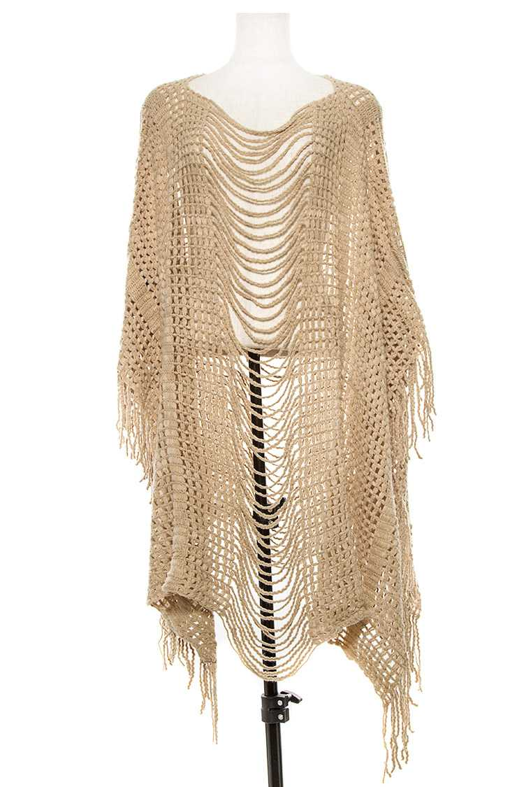 Open Knit Fringe Front Layered Poncho