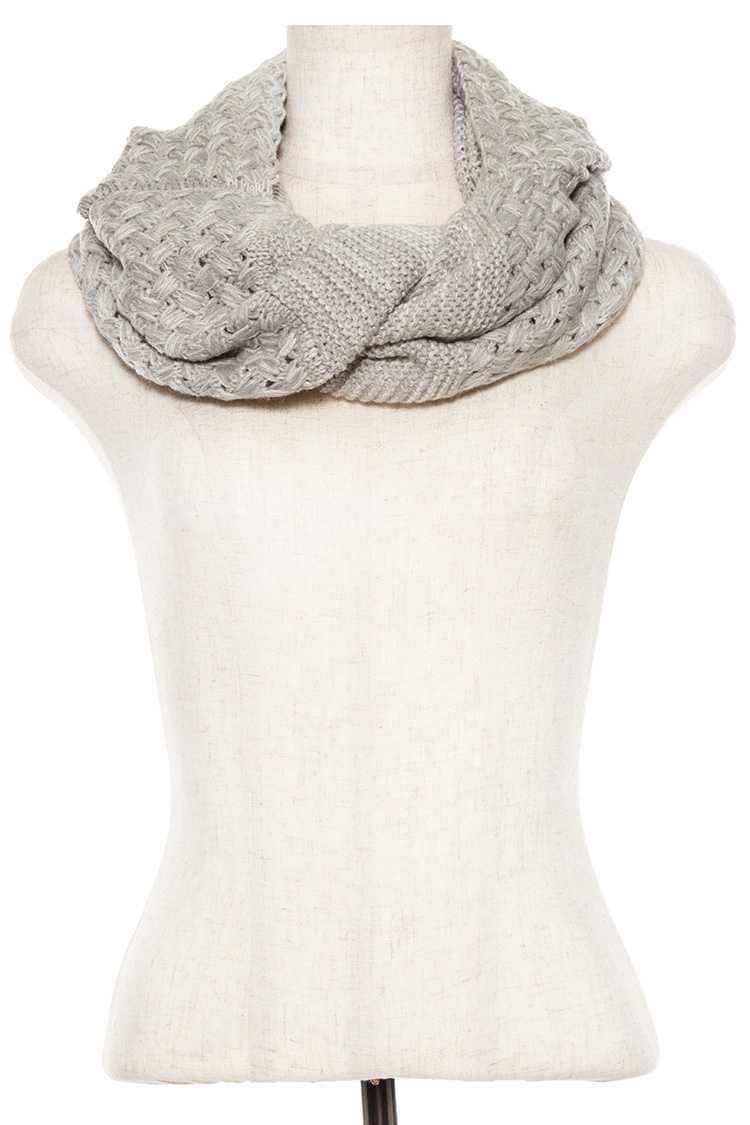 Two Tone Knitted Pattern Infinity Hooded Scarf