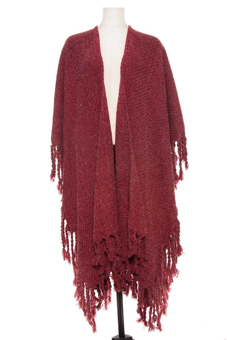 Heather Fringe Border Ruana Wrap