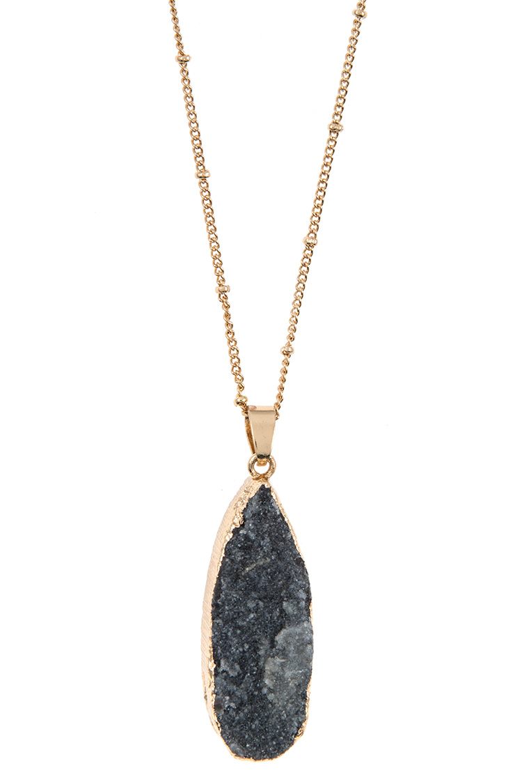 Station Bead Druzy Stone Pendant Long Necklace