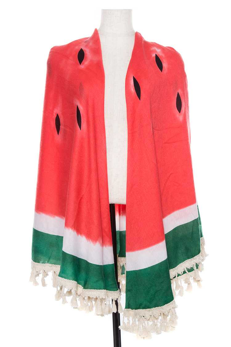 Watermelon Fringe end Wrap Scarf