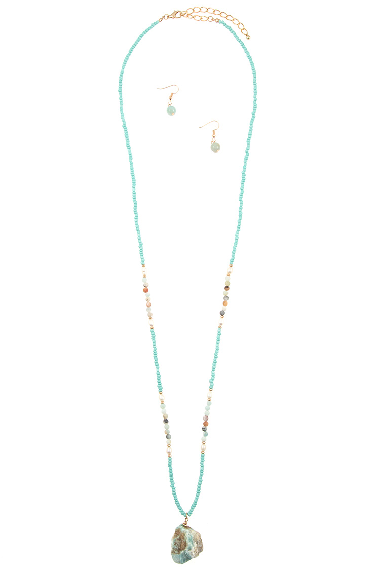 Stone Pendant Long Beaded Necklace Set