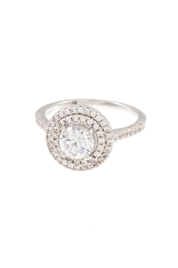 Rhinestone Framed Round Stone Accent Ring
