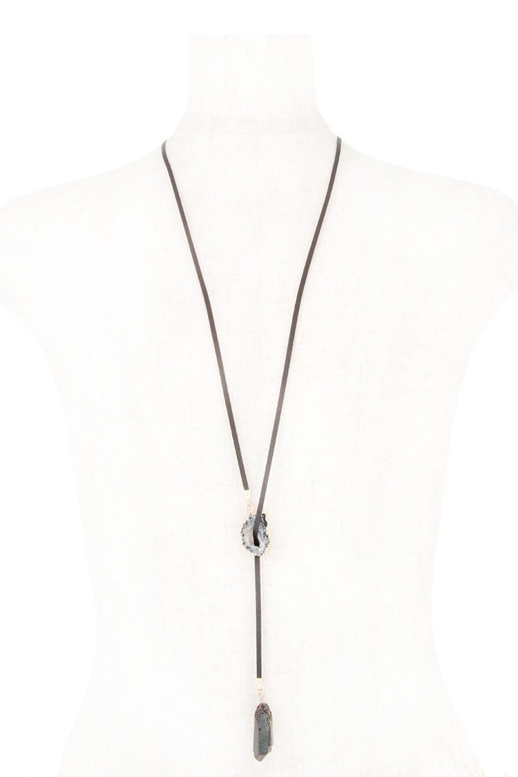 Elongated Stone Lariat Necklace
