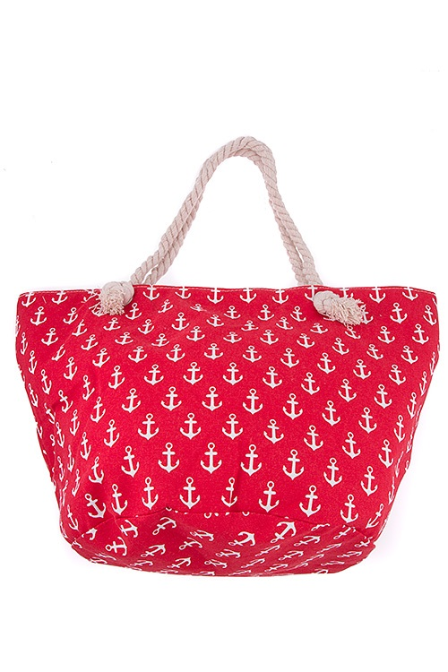 Anchor Print Rope Handle Tote Bag