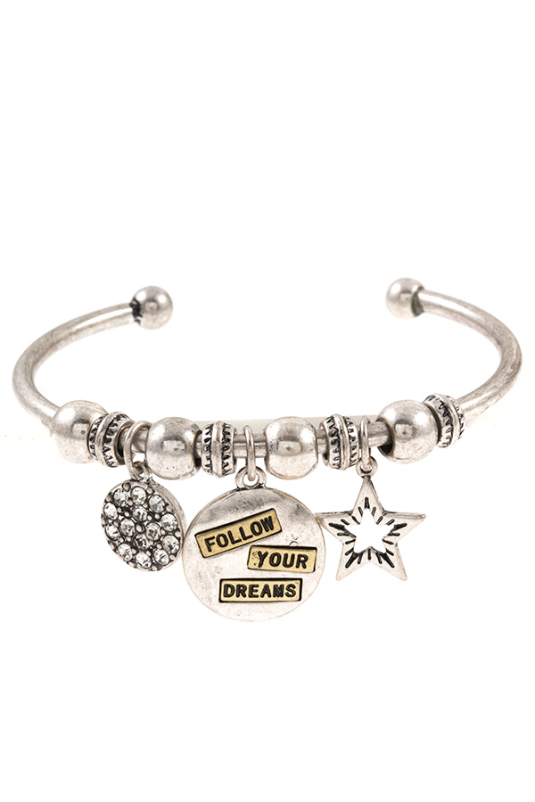 """Follow your Dreams"" Charm Dangle Cuff Bracelet"