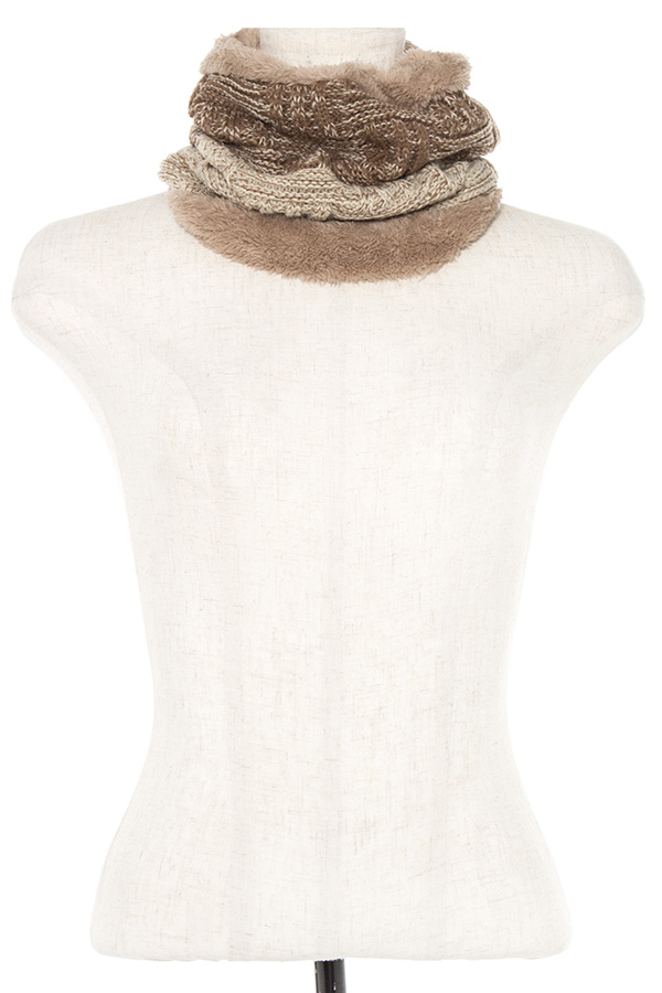 TWO TONE KNIT FLUFFY NECK WARMER