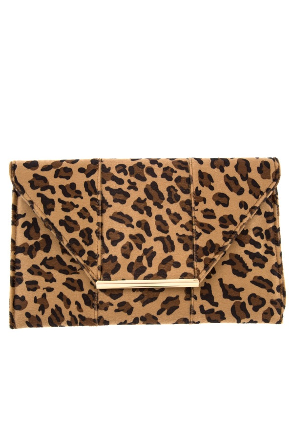 ANIMAL PRINT FLAT CLUTCH BAG
