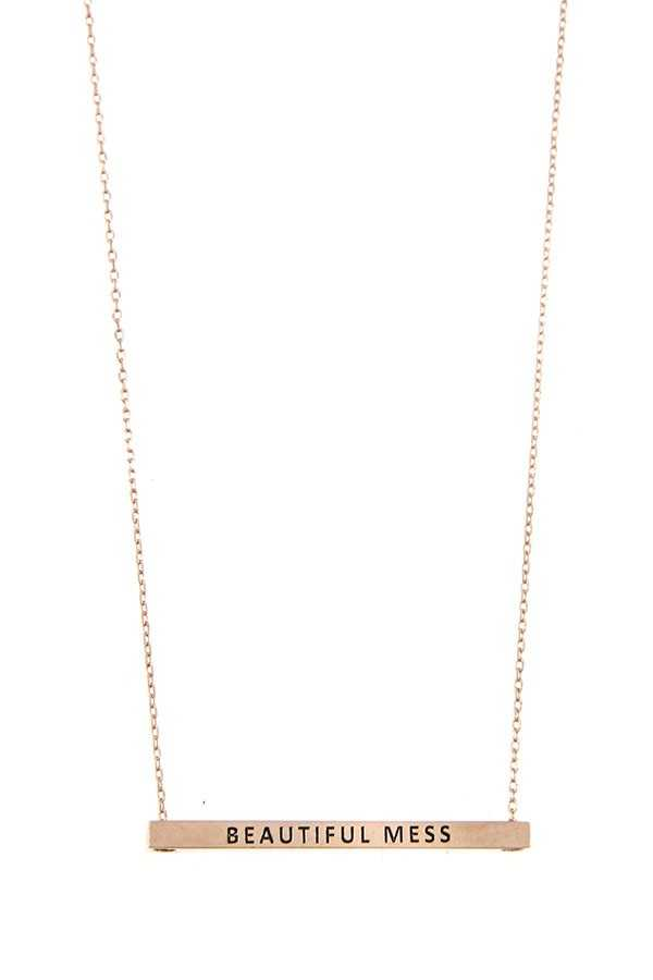 BEAUTIFUL MESS BAR PENDANT NECKLACE