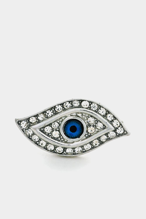 Evil Eye Rhinestone Accent Adjustable Closure Ring
