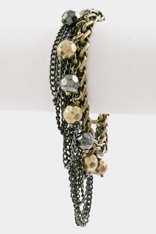 Chain with Drop Thin Layered Chain Ball Toggle Closure Bracelet