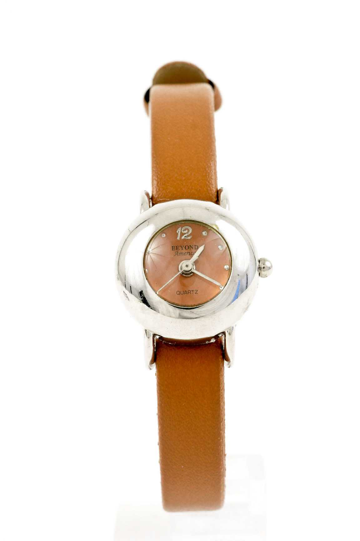 round metal glass template leather band watch