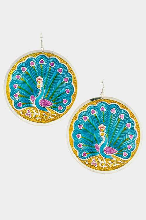 Round Peacock Dangle Earring
