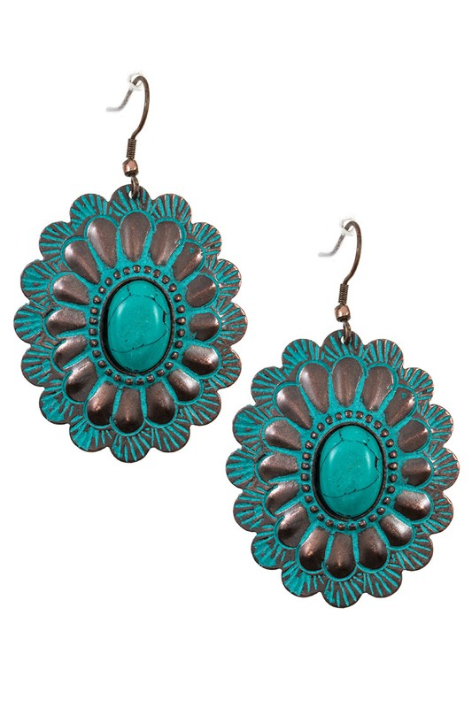 Floral Etched Faux Gem Accent Dangle Earring
