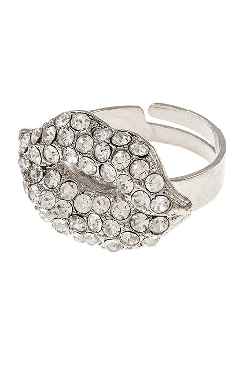Lips Rhinestone Adjustable Ring