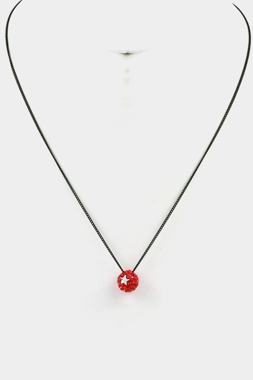 Rhinestone Paved Ball with Star Pendant Necklace