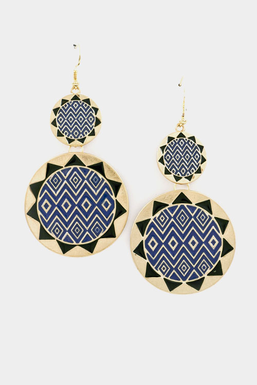 Two Linked Aztec Shaped Circles Earring