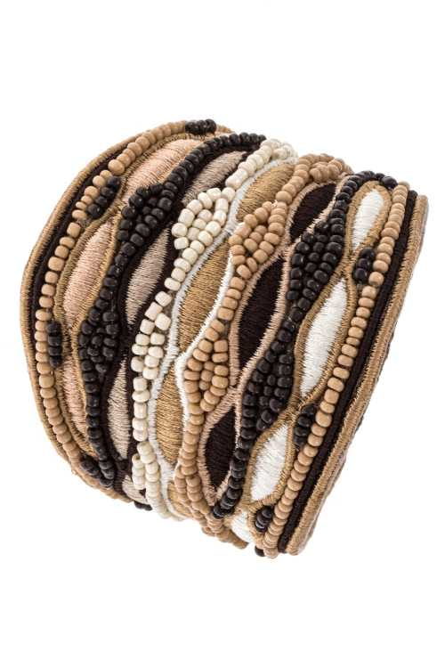 Fashionable Thread Design and Bead Detailed Accent Bracelet