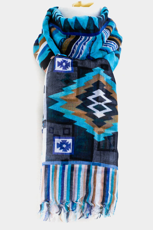 Aztec Printed Scarf with Fringe