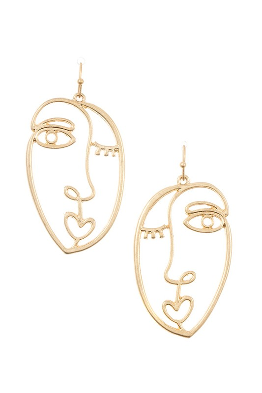 FACE OUTLINED DROP EARRING