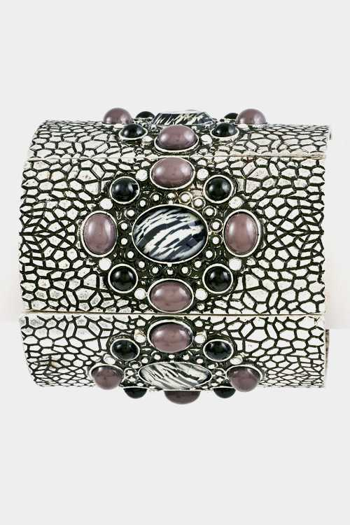 Dots Textured Oval Stone  Floral Stretch Bracelet