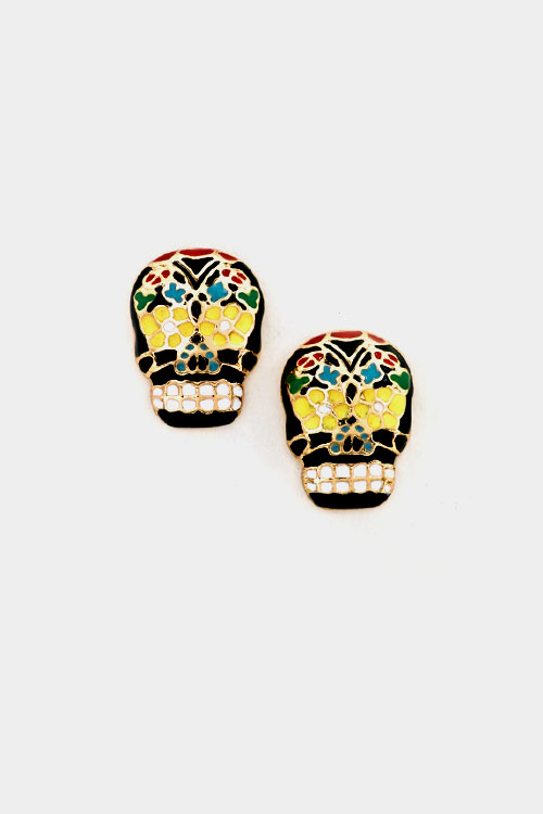 Colorful Skull Post Earring