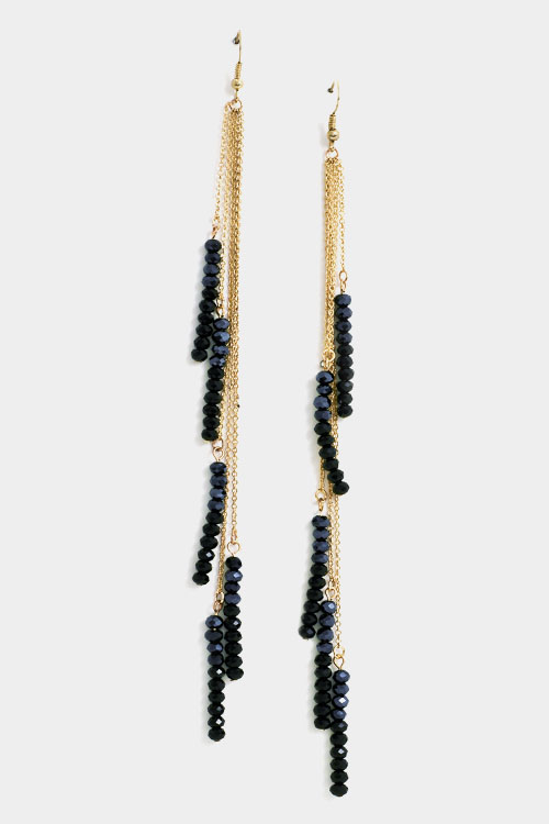 Accented Bezel Stone Link Chain Fringe Earring