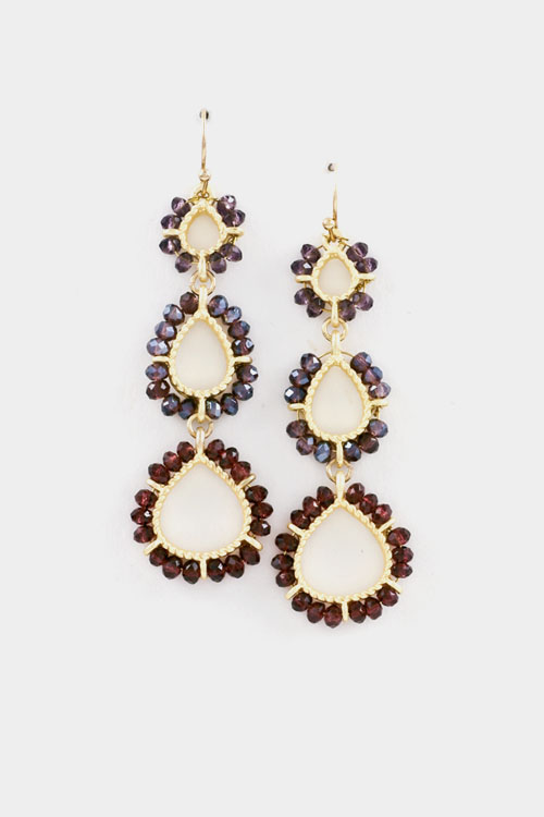 Crystal Accent Oval Linked Drop Dangle Earring