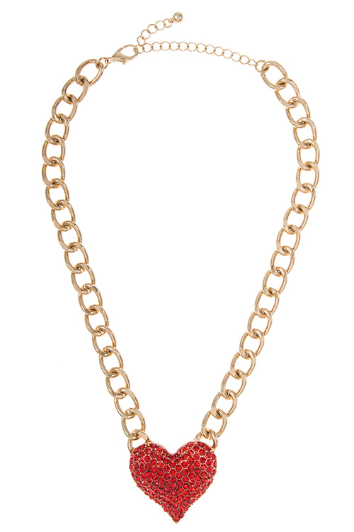 Heart Rhinestone Pave Simple Chain Necklace