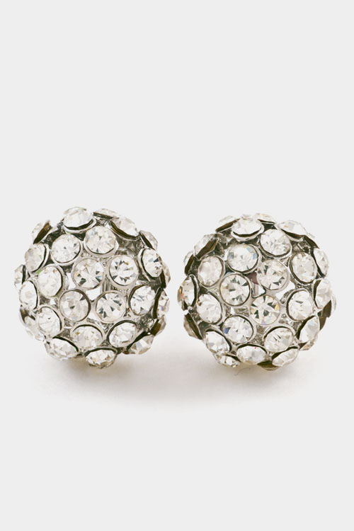Paved Ball Clip Earring