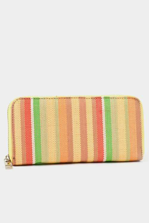 Stripe Zipper Closure Wallet