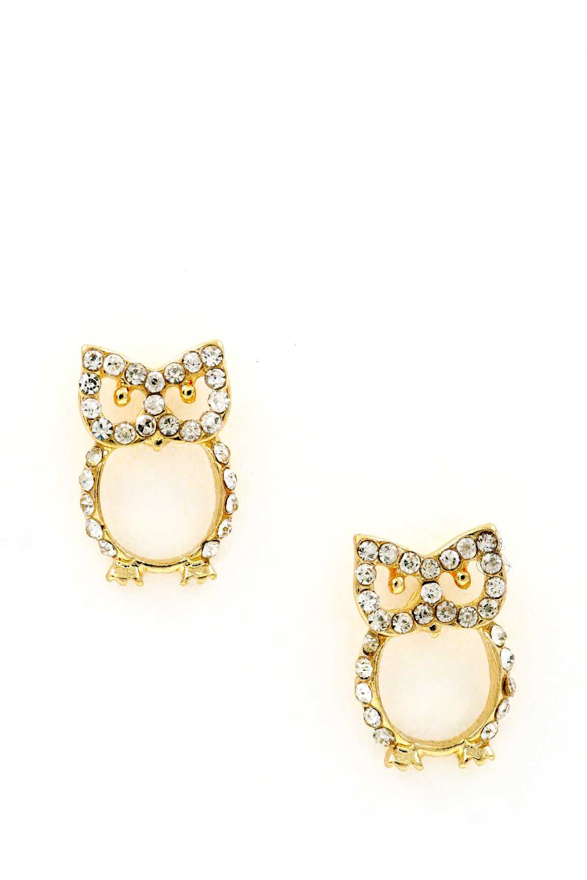 Owl Cavity Rhinestones Earrings