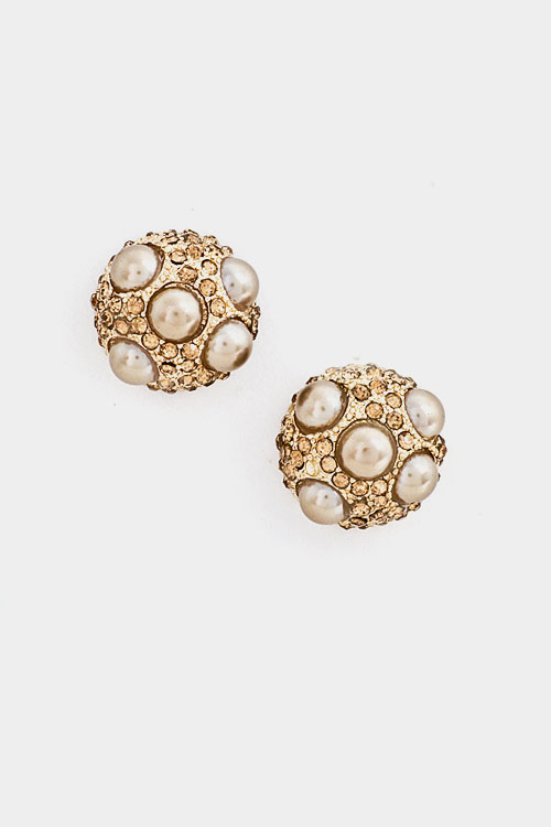 Rhinestone Ball with Small Pearls Earring