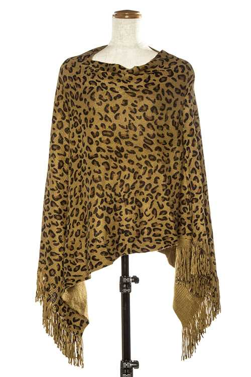 ANIMAL PRINT ACCENT PONCHO