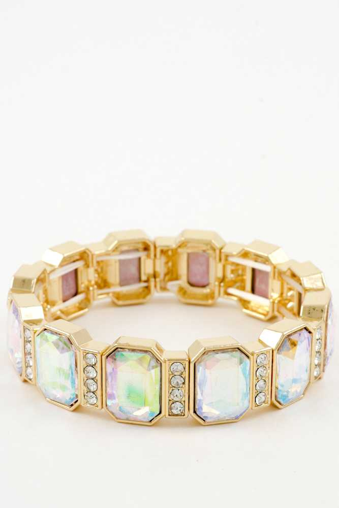 Radiant Crystal with Framed Stretch Bracelet