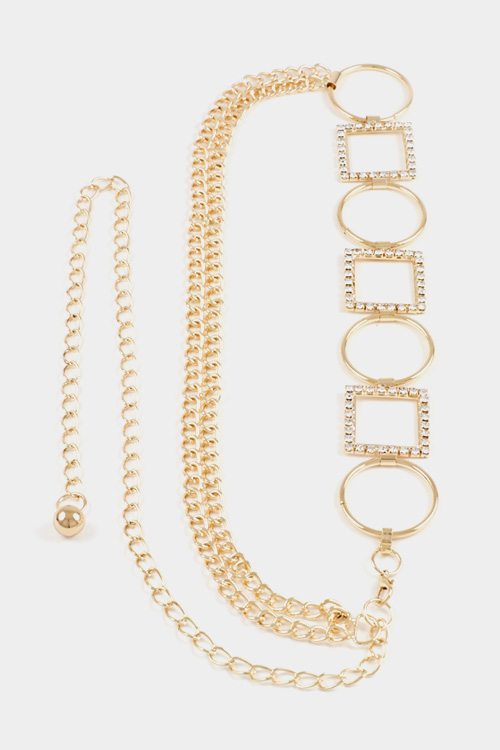 Circle and Square Rhinestone Accent Chain Belt