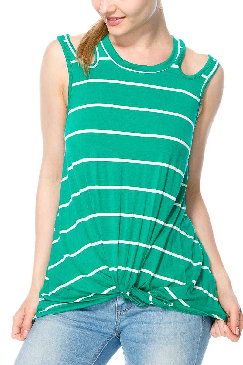 STRIPED CUTOUT DETAILS TOP WITH TWISTED HEM