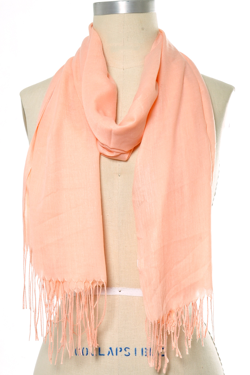 SOLID FRINGE END OBLONG SCARF
