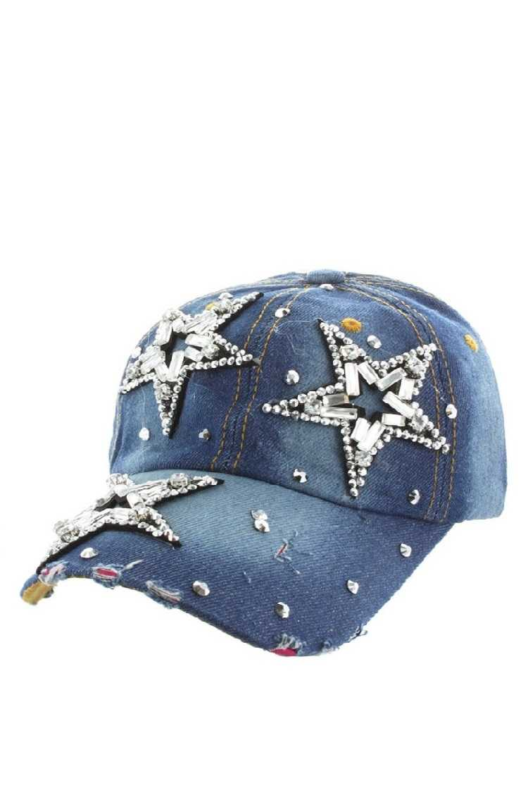 Gemstone Star Distressed Denim Cap