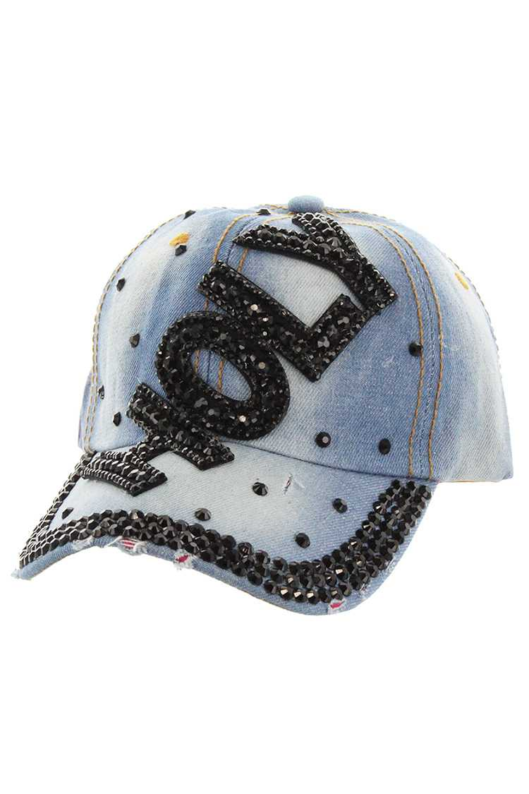 Gem Studded HOLY Distressed Denim Cap