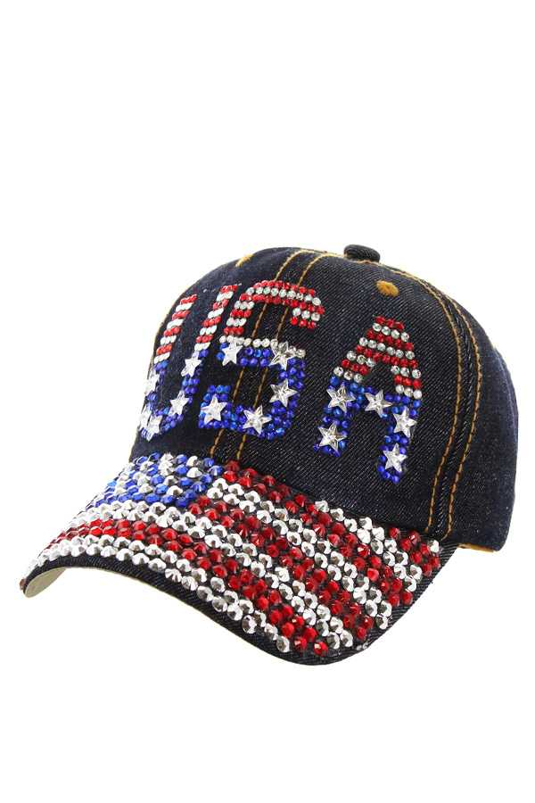 PATRIOTIC USA FLAG DISTRESS DENIM CAP