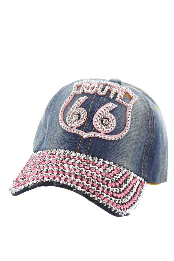 ROUTE 66 WITH STONE DISTRESS DENIM CAP