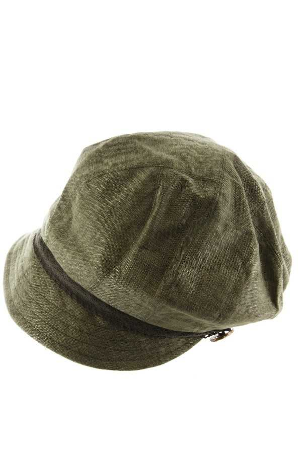 Lace Stone Button Band Accent Bill Newsboy Cap
