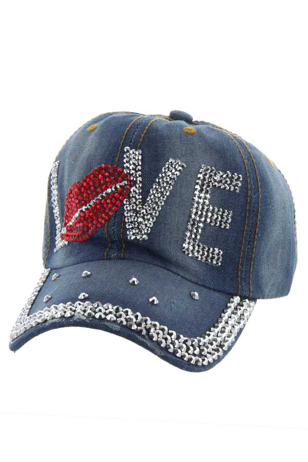 LOVE LIPS STONE DENIM CAP