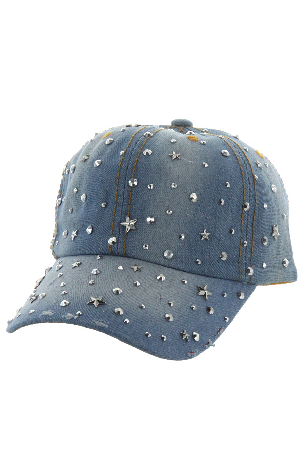 STAR METAL STUDDED DENIM CAP