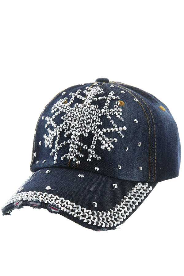 SNOW FLAKE RHINESTONE ACCENT DENIM CAP