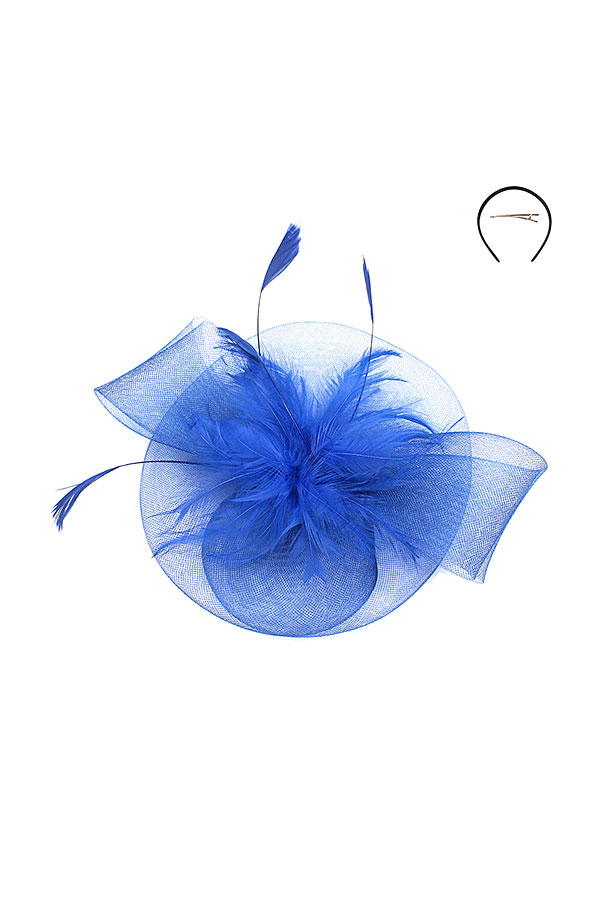 MESH FEATHER CENTER FASCINATOR