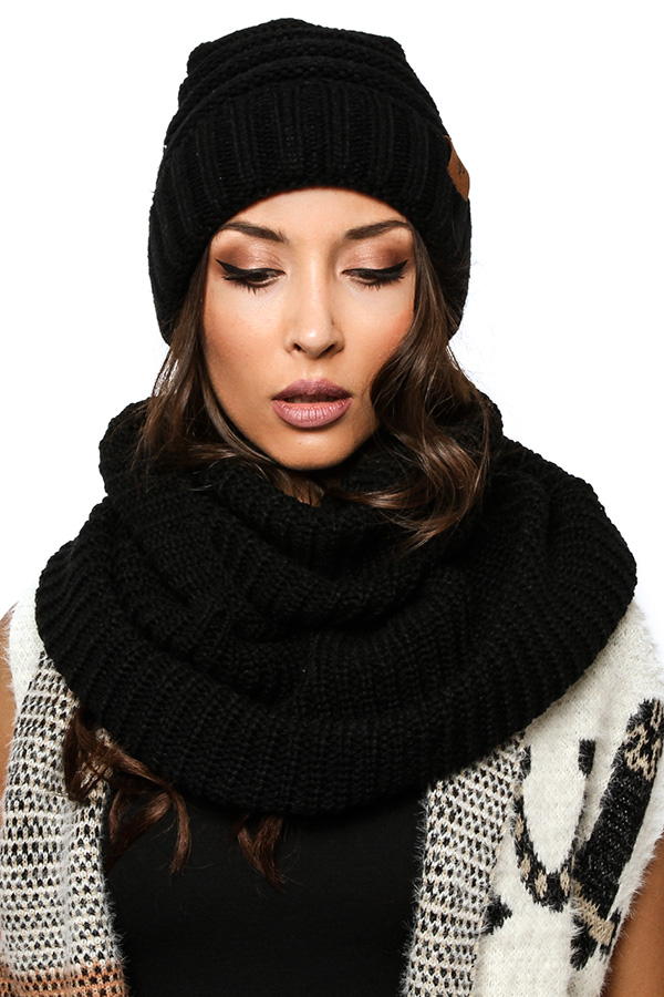 KNIT BEANIE WITH INFINITY SCARF SET