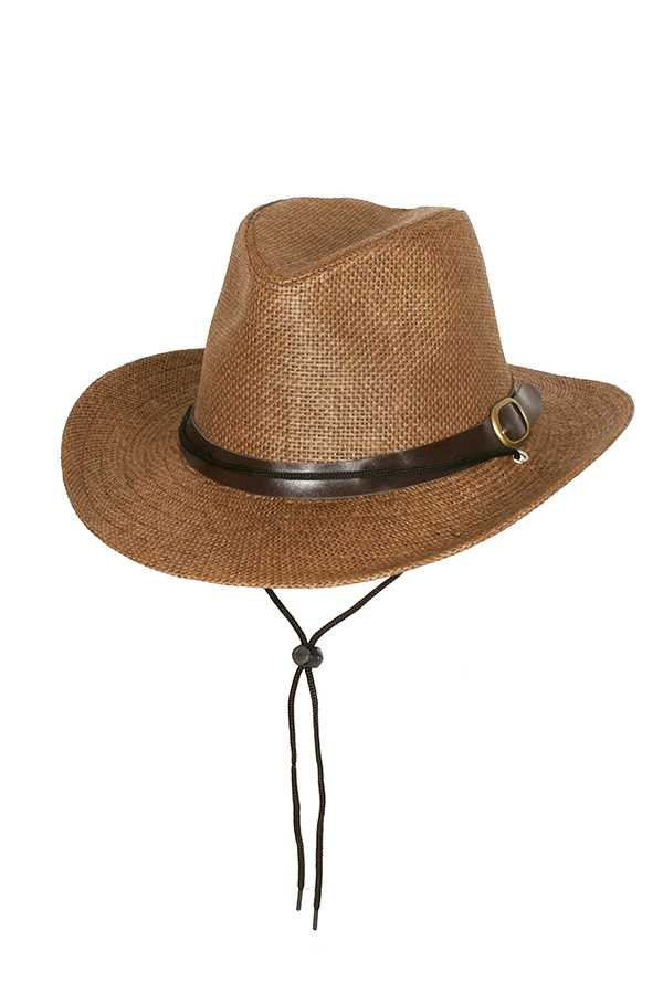 Paper Braid Cowboy Hat with Belt Buckle Band and Adjustable Tie